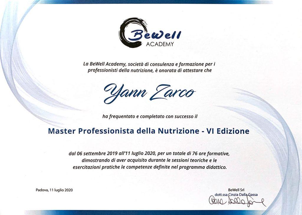 Yann Zarco - Diestista Nutrizionista - diploma